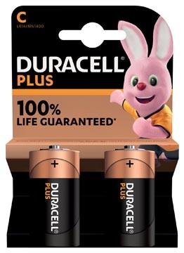 Duracell batterij Plus 100% C, blister van 2 stuks