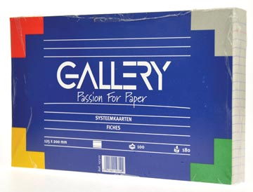 Gallery witte systeemkaarten, ft 12,5 x 20 cm, gelijnd, pak van 100 stuks