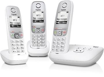 Gigaset A415 DECT draadloze telefoon met antwoordapparaat, met 2 extra handsets, wit