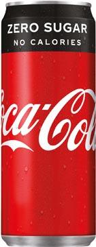 Coca Cola zero frisdrank, sleek blik van 33 cl, pak van 30 stuks