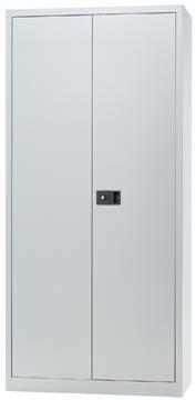 Bisley draaideurkast, ft 195 x 91,4 x 40 cm (h x b x d), 4 legborden, zilverkleurig
