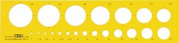 M+R cirkelsjabloon, cirkels 1 tot 32 mm