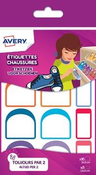 Avery Family etiketten voor schoenen, etui met 24 etiketten, geassorteerde formaten en kleuren